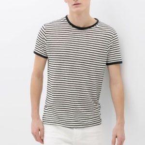 Zara linen striped t-shirt